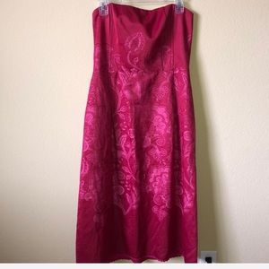 Nanette Lepore Strapless Crimson and Pink Dress